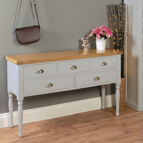 Chadwick grey console table with shelves an attractive and practical hallway table to give you the warmest of welcomes home