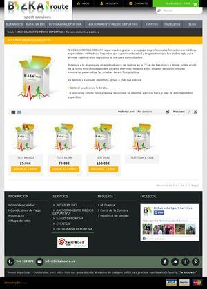 Parte de la pagina web de Bizkairoute donde explica como ayuda a los deportistas a pasar los reconocimientos médicos para obtener la licencia federativa. Esta pagina es una creación de Denocheydia empresa dedicada al diseño de paginas web en Bilbao.