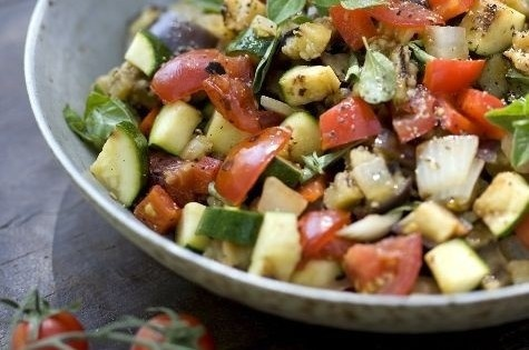 """""""The Biggest Loser"""" salad that almost no one can get enough of. 1 head fresh lettuce, 1 bunch fresh basil, 2 fresh in-season tomatoes, 1 cucumber, 1/4 red onion  (for dressing)-1/3 cup olive oil, 4 tbsp lemon juice,1 tsp honey (for dressing) salt and pepper, to taste"""