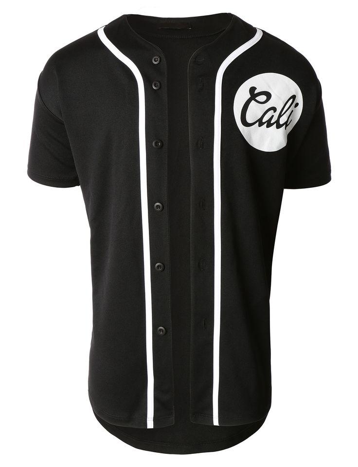 LE3NO Mens Short Sleeve Button Down Cali Logo Baseball Jersey