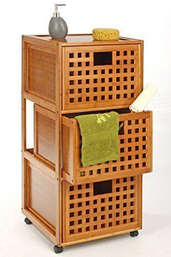 Rollschrank Mit Drei Schubladen Aus Bambus