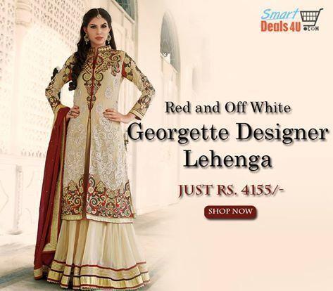 Red and off white Georgette Designer Lehenga #Choli  #Designer #LehengaCholi #Fashion #Wedding #Saree #Bridal #Style  #OnlineShopping #DesignerLehenga Whats App :- 9953089027 For Buy :- www.Smartdeals4u.com