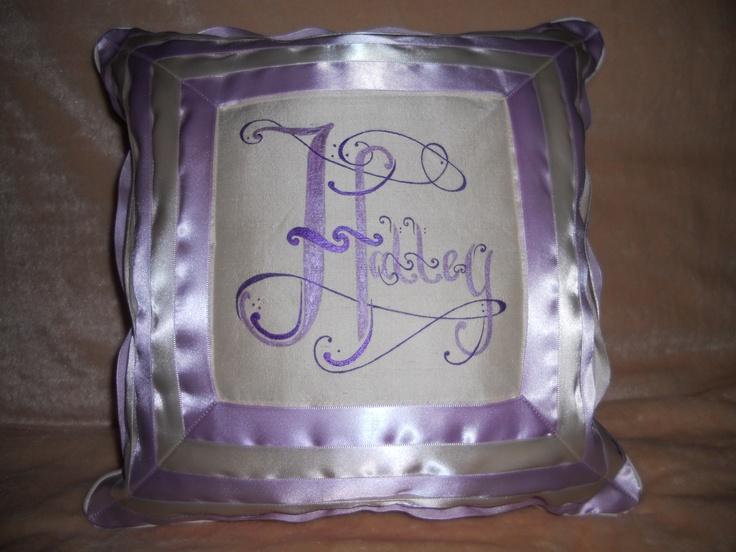 Halley's satin ribbon christening pillow