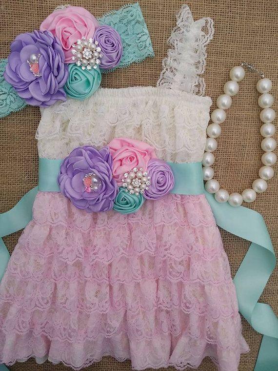 Vestido de encaje rosa y marfil / bebé bebé mameluco niña mameluco niña encaje…