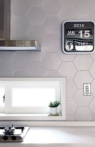 kitchen wall 육각형회색타일 포인트