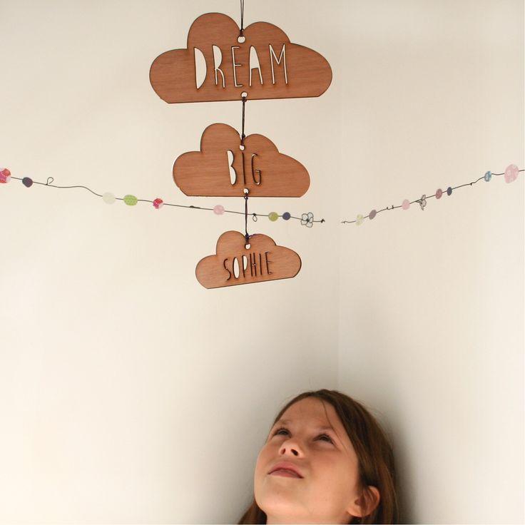 Personalised dream big wooden cloud mobile -Tom