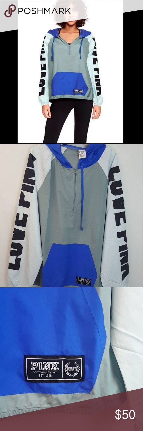 NWOT VS PINK M/L Blue Colorblock Anorak Brand new without tags (online order )from Victoria's Secret PINK! Light and royal blue colorblock with black accents LOVE PINK logos on arms Front kangaroo pocket Quarter zip with drawstring hood Size medium/large PINK Jackets & Coats