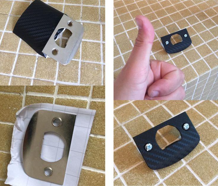 Vinyl Wrap practice. DIY vinyl Wrap practice on a door latch/hinge, good piece to learn on small, curvey, openings & radius edges