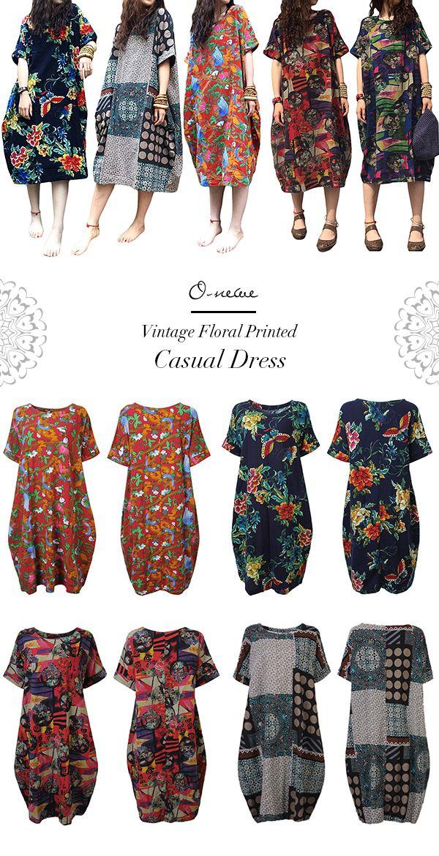 US$ 23.96 O-Newe Plus Size Vintage Floral Printed Pocket Dress For Women