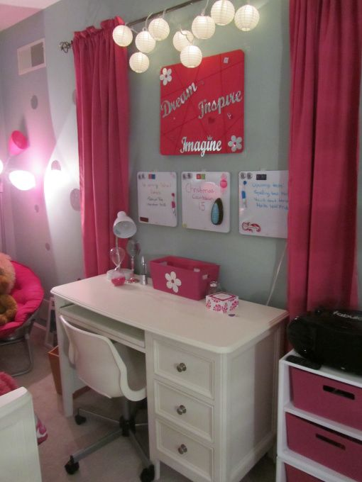 I like how the curtains break up the space. Newly designed tween room - Girls' Room Designs - Decorating Ideas
