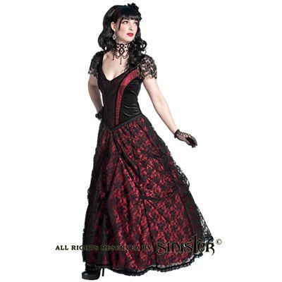 Melba wijde en lange middeleeuwse gothic jurk van fluweel en satijn zwart/bordeaux rood - Gothic Halloween