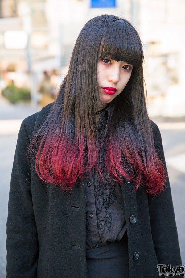 Red Dip Dye Hair & Gothic Fashion
