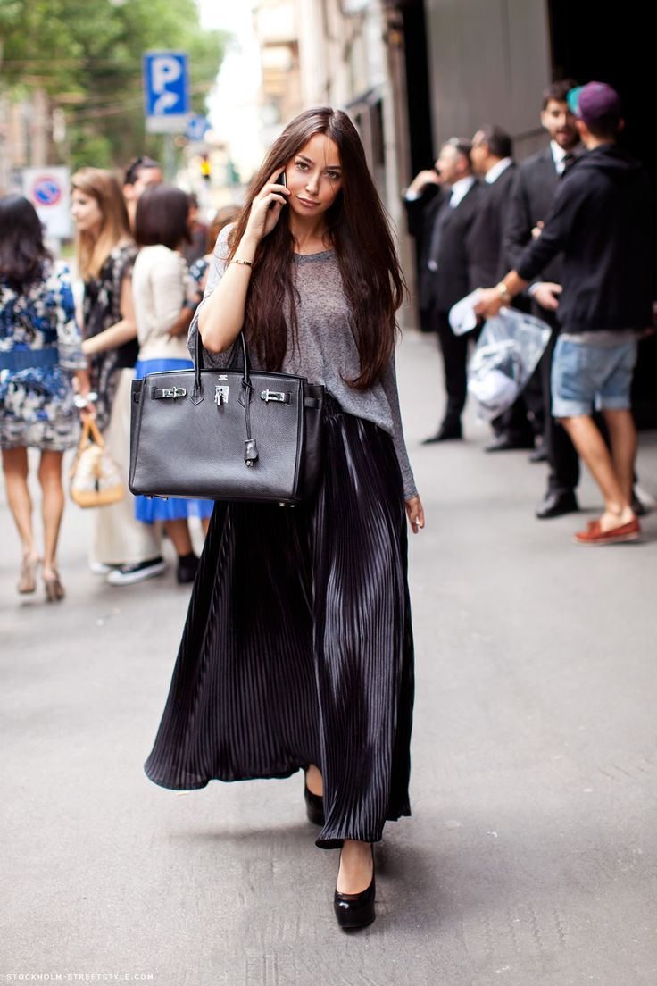 Elbows and Knees: Long Pleated Skirts