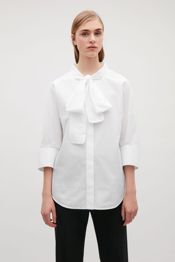 1823ad7f0fa0d1 COS image 2 of Shirt with bow neck tie in White | The Uniform Spring ...