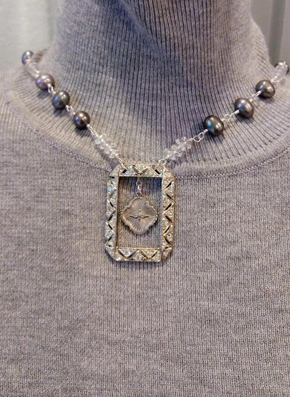 In love vintage necklace peace bird rhinestone brooch