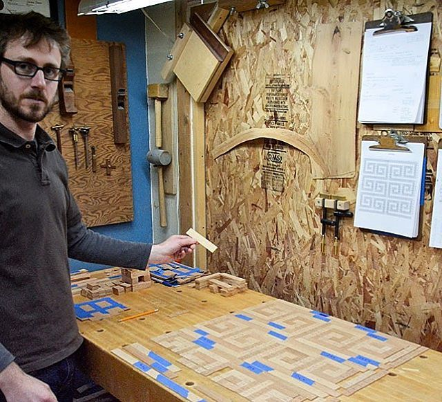Oden artisan Lael laying out his shop sawn veneers to create his #award winning #parquetry cabinets. To see his stunning work www.odengallery.com/vendor/Lael-Gordon #madeinusa #handcrafted #woodworking