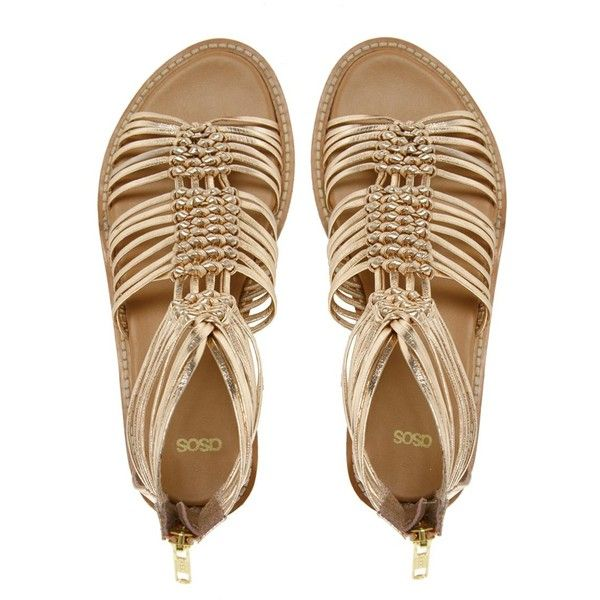 ASOS FIRE Leather Gladiator Flat Sandals ($34) ❤ liked on Polyvore featuring shoes, sandals, gold, flat sandals, flat shoes, leather sandals, metallic flatform sandals and metallic gladiator sandals