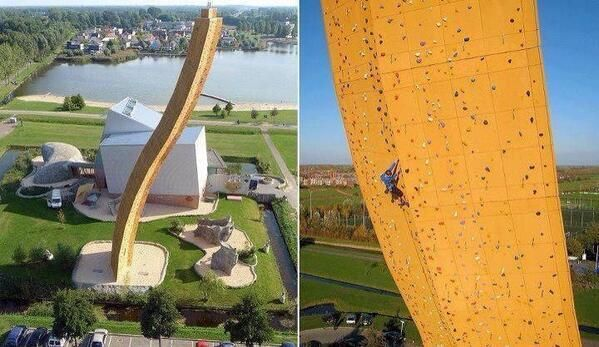 The world's highest climbing wall in Groningen, The Netherlands. It is 37 metres high and is known as the Excalibur. #Earth