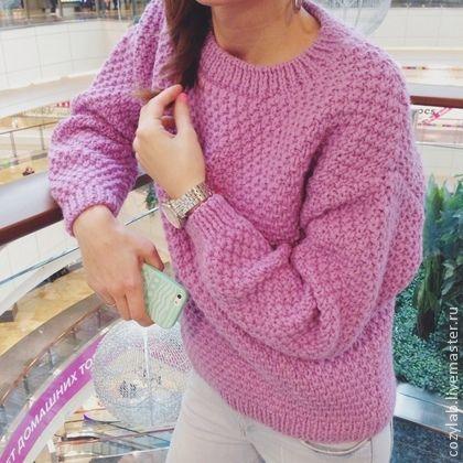 Большой шерстяной лавандовый свитер. Handmade.