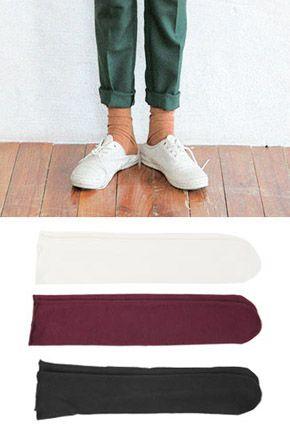 柔軟寬鬆純色半筒襪