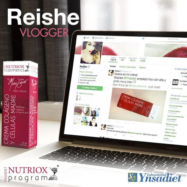 La guapa y simpática bloguera Reishe ya ha probado nuestra Crema colágeno y células madre de la gama #NutrioxProgram. Producto recomendado para mejorar la elasticidad de la piel del rostro y cuello. ¡En nuestros laboratorios estamos atentos a los resultados! :)