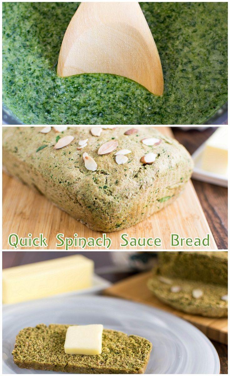 Quick Spinach Sauce Bread   yeast free vegan bread   kiipfit.com