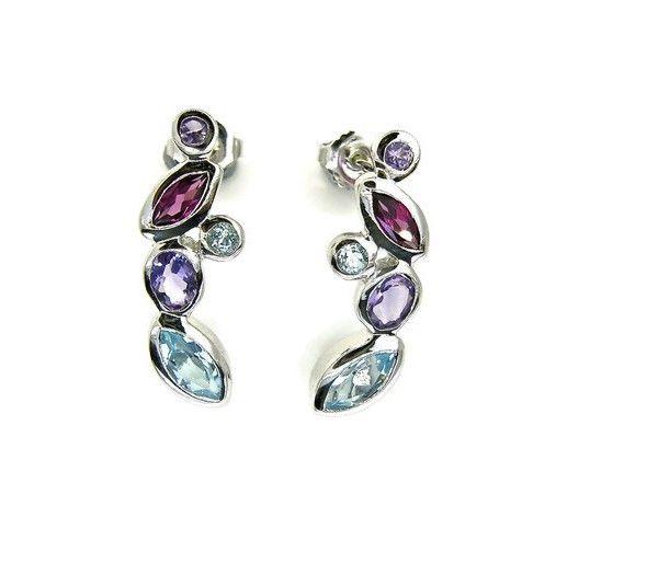 Blue Topaz, Amethyst & Garnets Sterling Silver Earrings