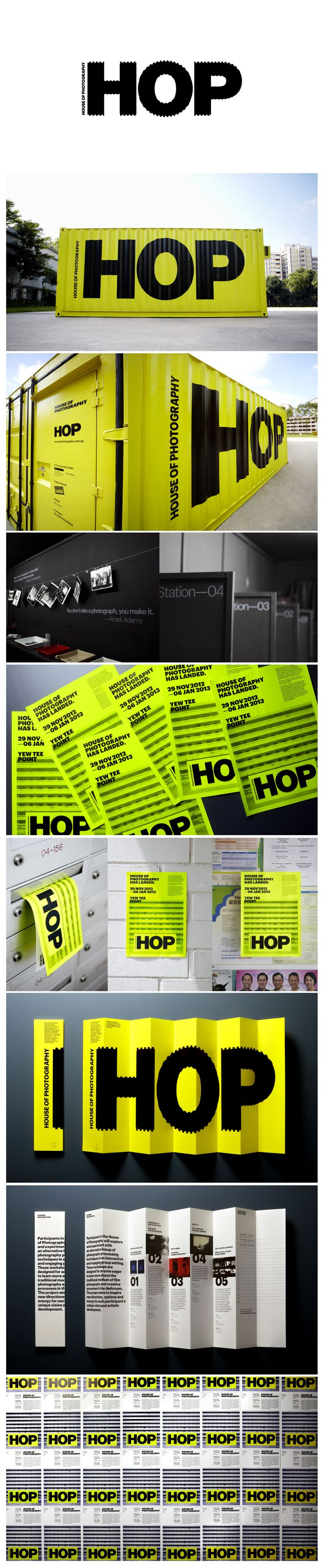 """HOP The House Of Photography marque was inspired when the initials """"HOP"""" were painted across the ridges of a shipping container, resulting in the graphically distorted effect. The design is also reminiscent of sprocket holes found on 35mm film rolls, strengthening the graphic association with photography.  http://www.andlarry.com/hop"""