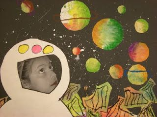 First they painted with water color and used saran wrap for texture (that paper was later cut into the landscape). They They created the planets on white paper and pastel chalk (learned about how to blend and which colors are best to blend together). I took their picture looking up while they were working. Then They had a template to trace for the helmet.  By:  Lisa VandenBush