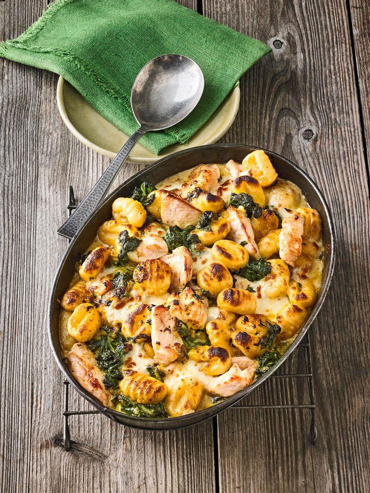 Gnocchi-Spinat-Auflauf mit Hähnchen und Curry