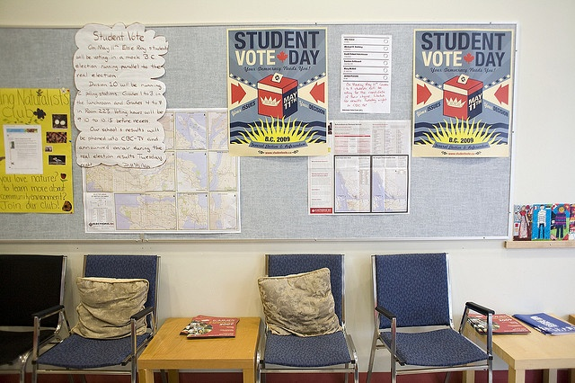 A bulletin board from Elsie Roy Elementary, BC 2009 Provincial Student Vote.