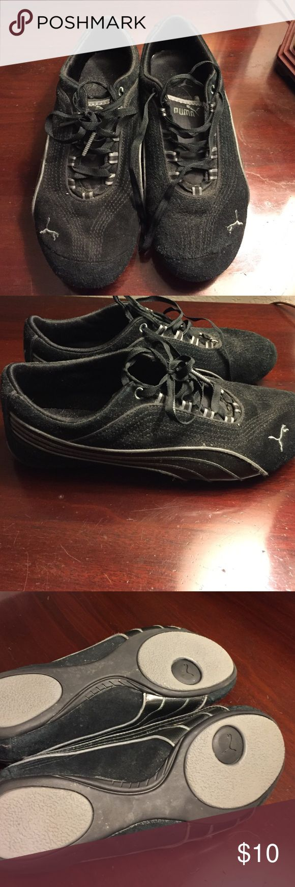 Shoes Ladies black Puma casual sneakers. Comfy and slightly worn. Great for city walking when you don't want your full on sneakers! Puma Shoes Sneakers
