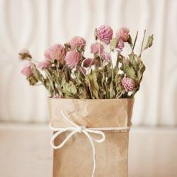 Paper bag as vase, cute.