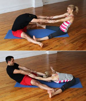 Partner Wide-Leg Seated Forward Bend - Hatha Yoga Poses for Couples - Shape Magazine