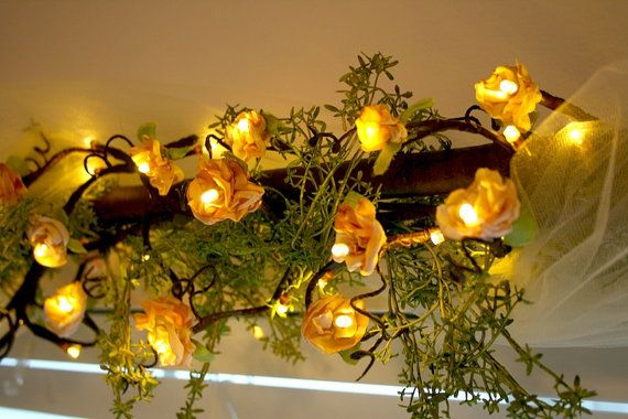 Flower Fairy Lights LED 6ft brown branch garland by FairytaleWeeds