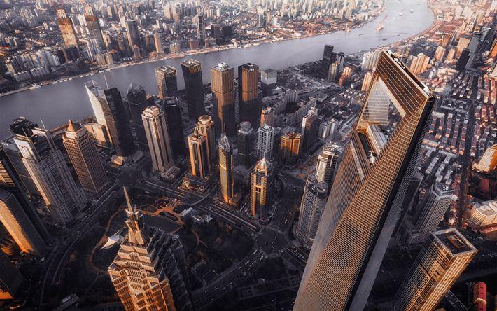 Hämta bilder Shanghai, skyskrapor, megalopolis, hemtrevliga hus, Taipei 101, Kina