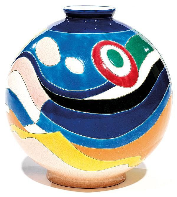 LONGWY & Danillo CURETTI (XXe) Grand vase boule coloniale.  TAJAN 26 sept 2013. 20th century decorative arts. Realised 1275 eur
