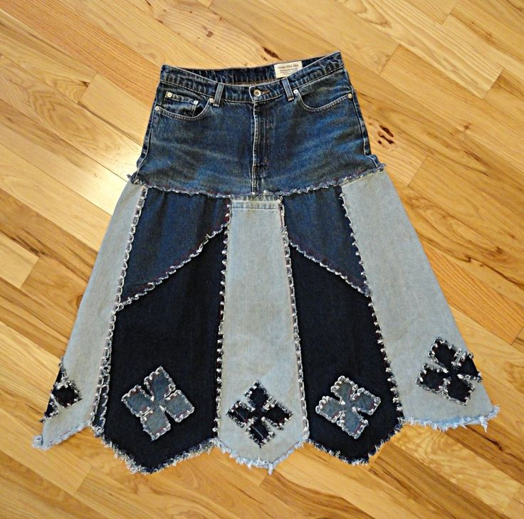 Long Denim Skirt Made to Order Denim Diamonds by DenimDiva2day, $88.00