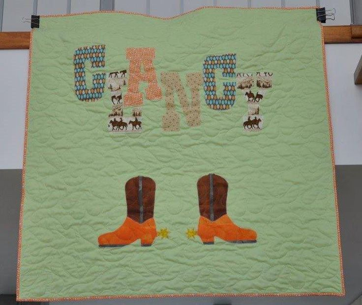 Personalised Name quilt for a little Clancy cowboy