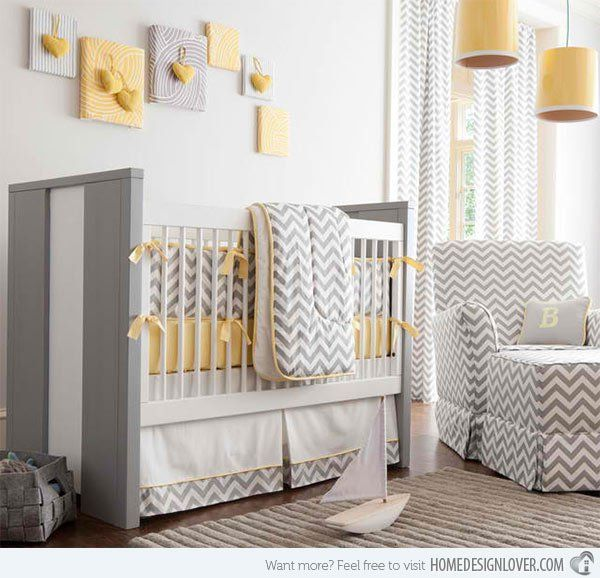 Gray and Yellow Chevron Crib Bedding
