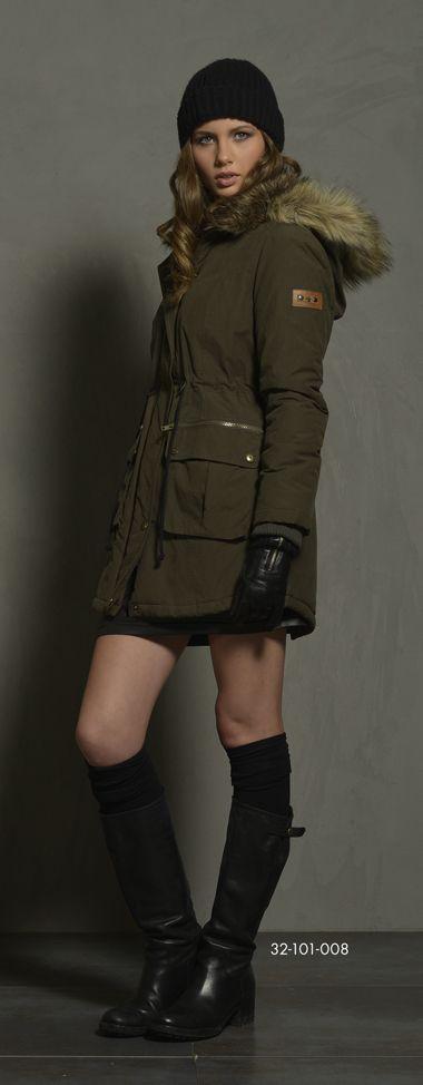 Ladies' jacket with detachable hood & fake fur around hood & fake fur quality inside collar. www.biston.gr