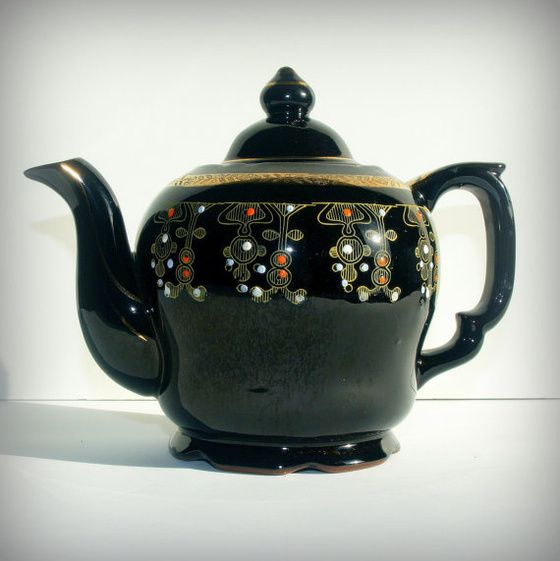 VINTAGE BOHEMIAN TEAPOT - Mid Century Beautiful Tea Pot - Boho Chic Serving - Japanese Redware - Black, Gold, and Red Ornate - Tea Party - InStores