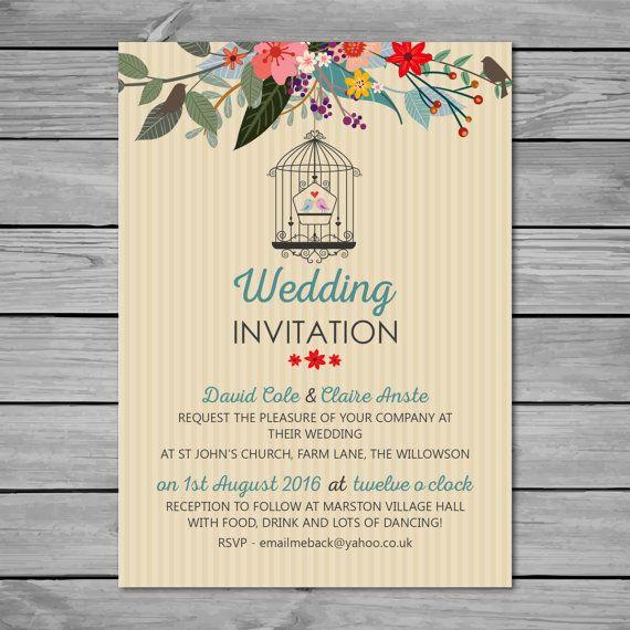 DIY Printable Wedding Invitation  A6 (105mm X 148mm), Digital Wedding  Invitation,