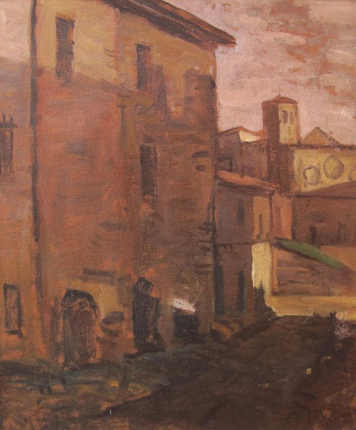 """Edgardo Ribeiro """"Calle de España"""" Óleo sobre tela  59 x 49 cm. Circa 1950  http://www.portondesanpedro.com/ver-producto.php?id=11819"""