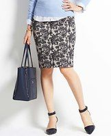 """Floral Jacquard Skirt - A rich floral jacquard adds decadent style and texture to this sharp pencil skirt in a sublimely sleek silhouette. Hidden back zipper with hook-and-eye closure. Back vent. Lined. 23"""" long."""