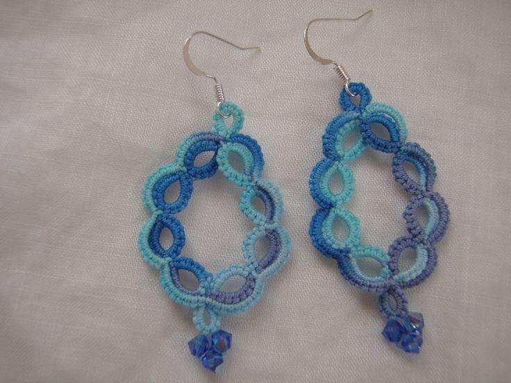 Dangle Lace Earrings, Tatting Summer Ocean Blue Tones by tattingblackkitty on Etsy