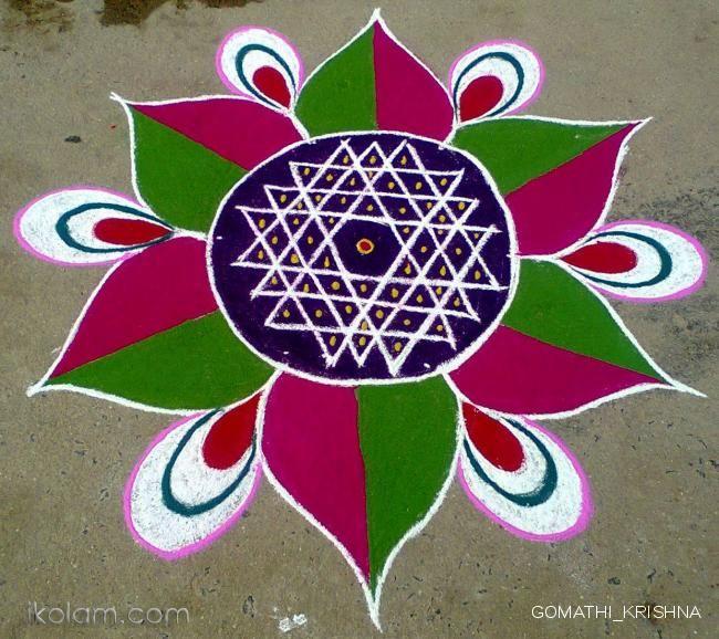 Tamil new year kolam, by Gomathy. -ikolam.com