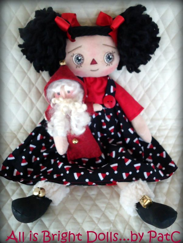Christmas Raggedy Annie, Annie and Santa, Raggedy Annie, Prim Rag Doll, Whimsical Doll, Country Prim Decor, Hand painted Doll, 14 in doll, by Allisbright on Etsy