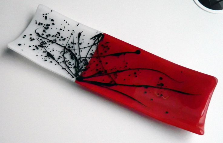FUSED GLASS Small Channel Plate, Red, White and Black - Handmade by AjMcKeeFusedGlass on Etsy