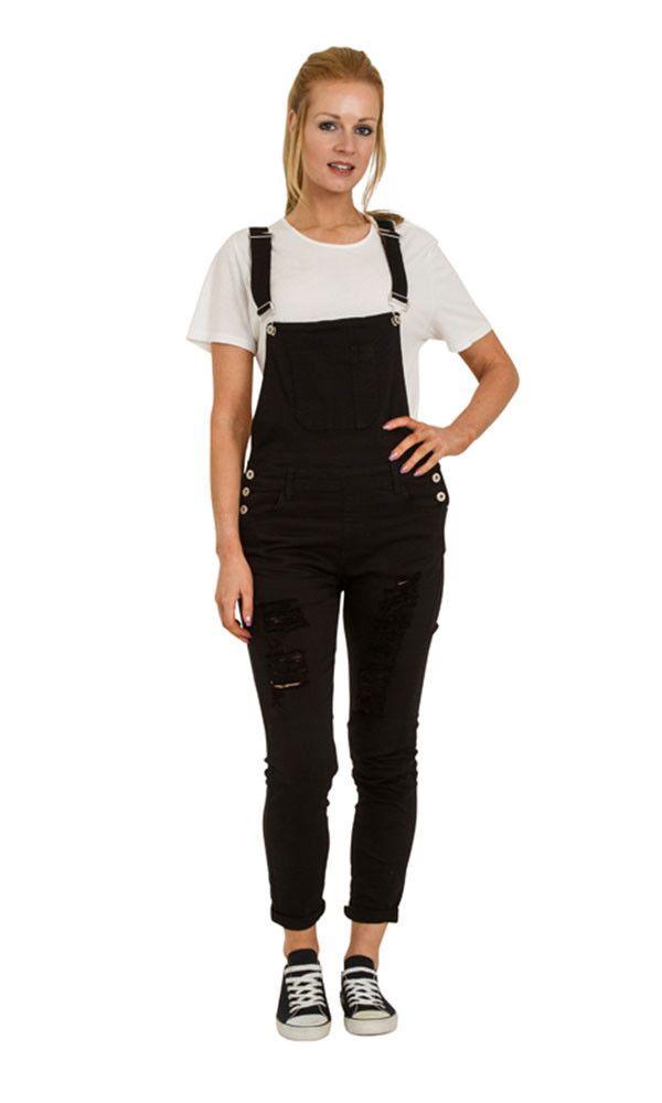 Black Distressed Denim Bib Overalls - Skinny Fit Ladies Dungarees Rips Abrasions